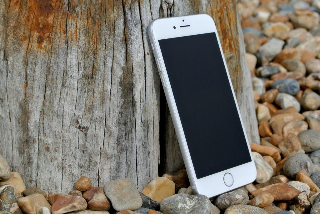smartphone on a pebble beach