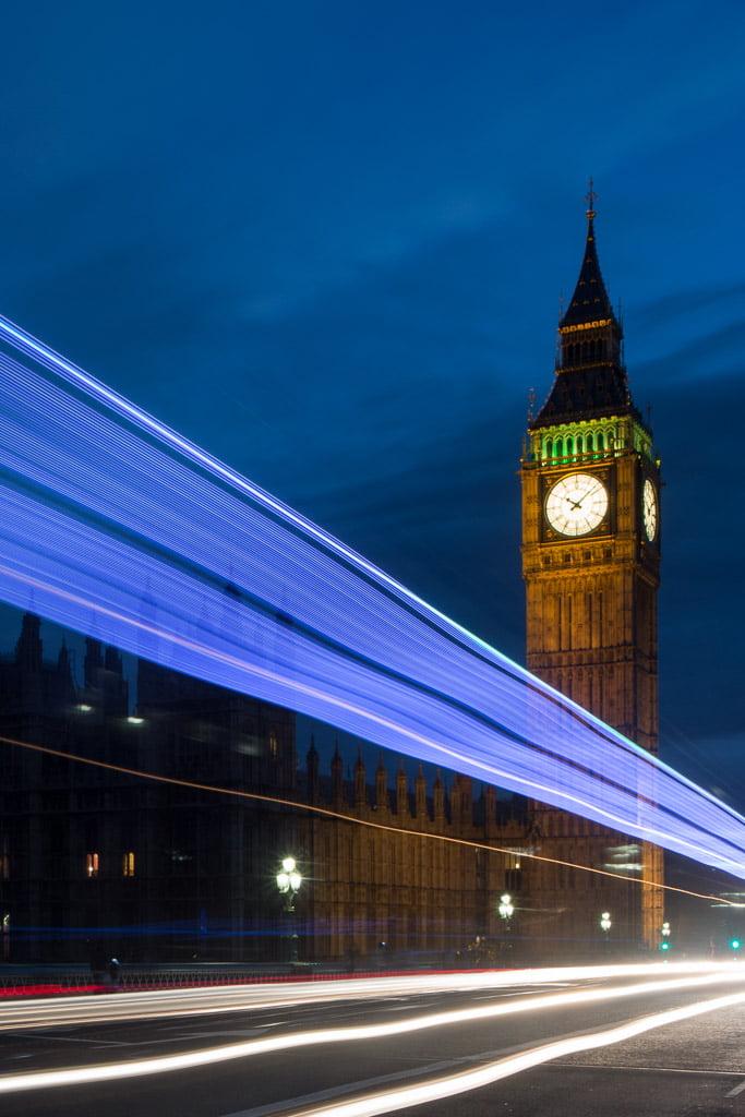 blue light trail on Westminster Bridge