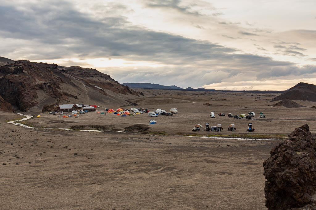 Campsite in Iceland at sunset