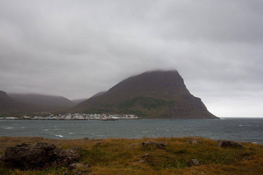 mountain behind Bolungarvik in Iceland