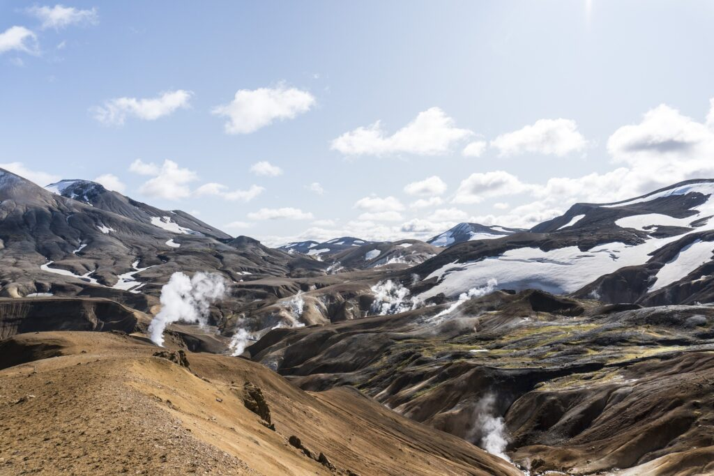 snow on mountains in the Highlands of Iceland