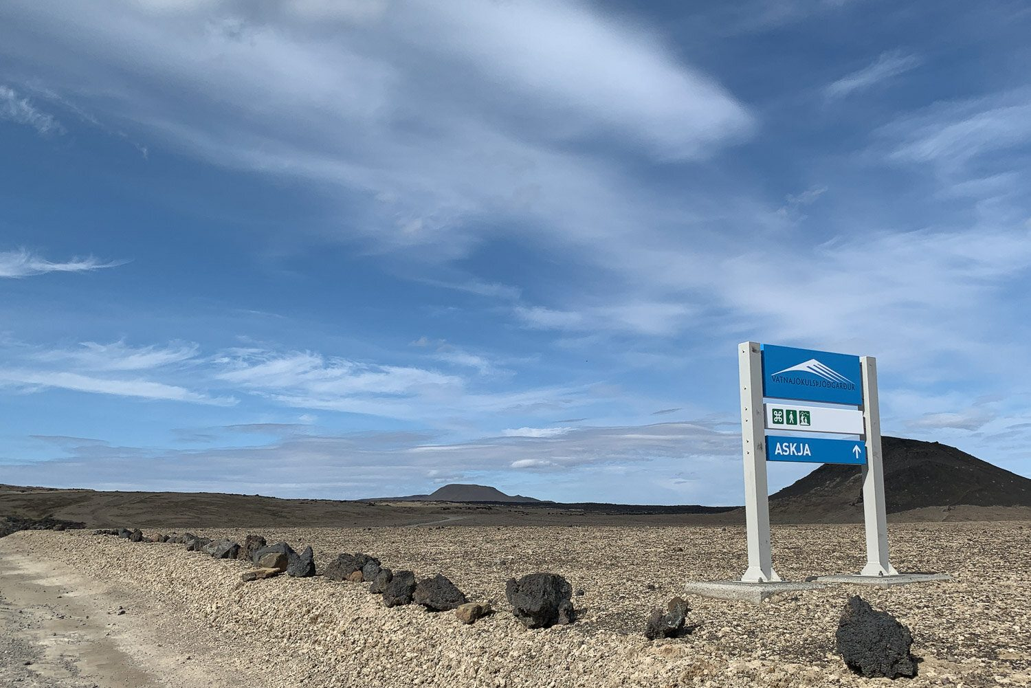 blue sign at Askja in Iceland