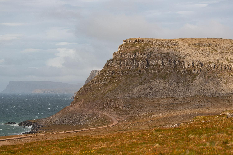 road and bird cliffs