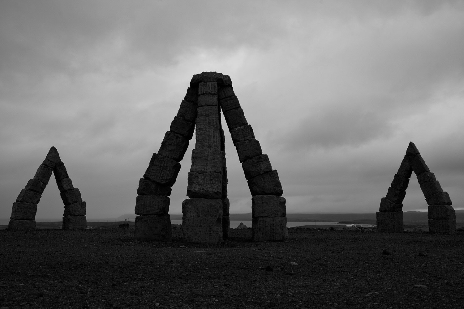 Arctic Henge in Iceland in Black and white