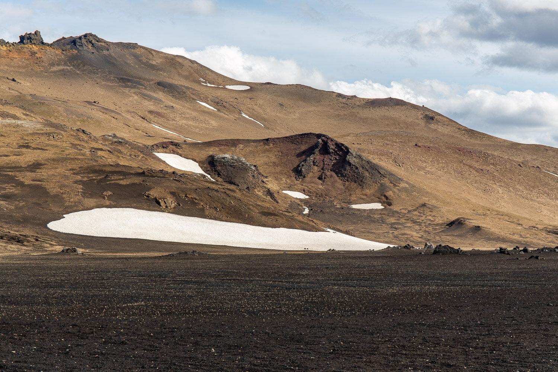 volcano with snow