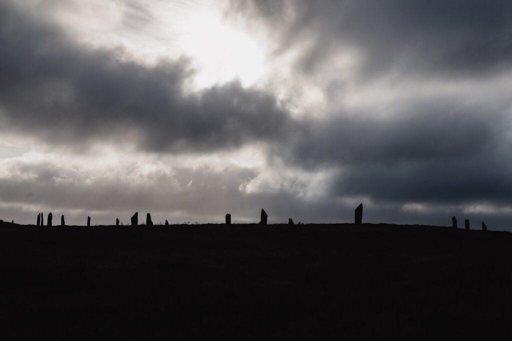 brodgar standing stones with grey sky