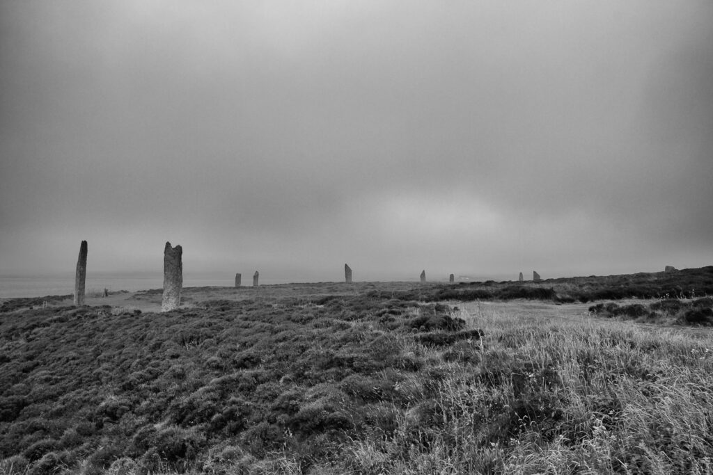stone circle in black and white