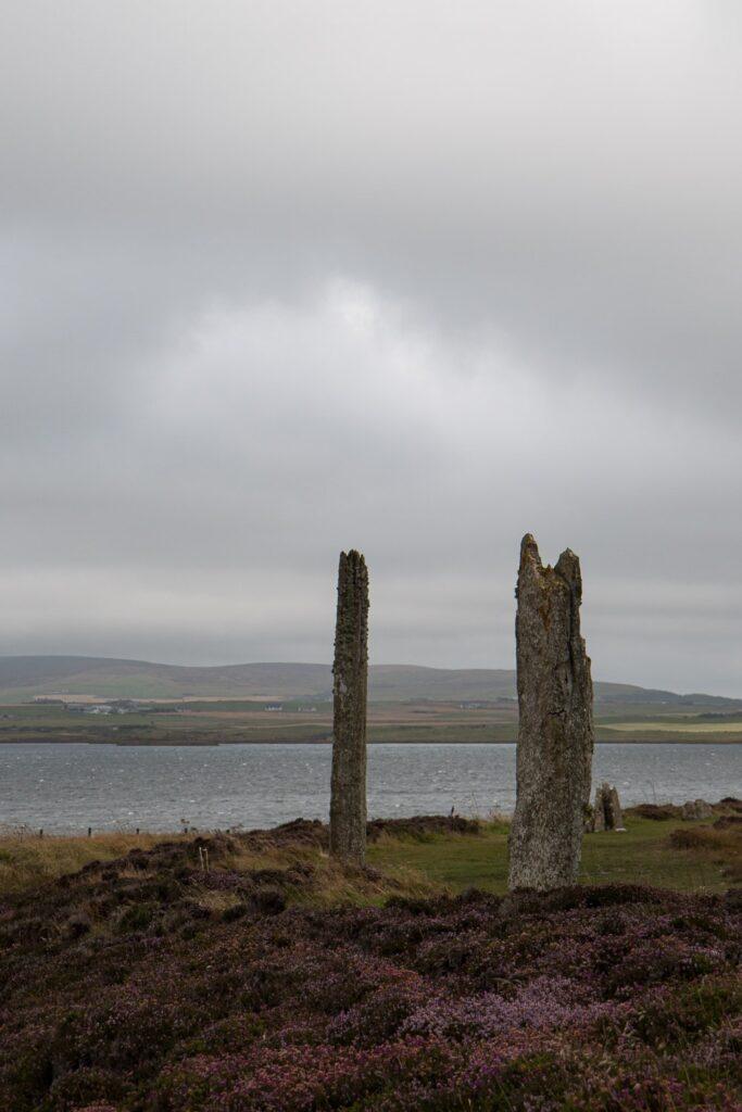standing stones with grey sky