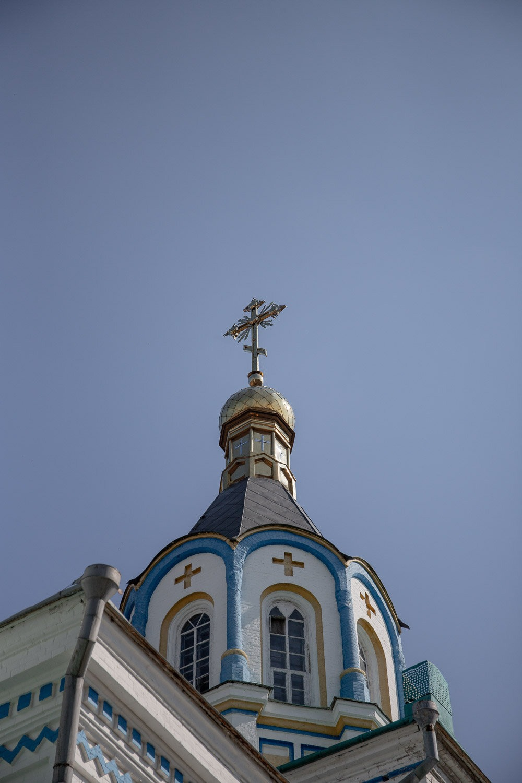 St Elijah church with blue sky behind