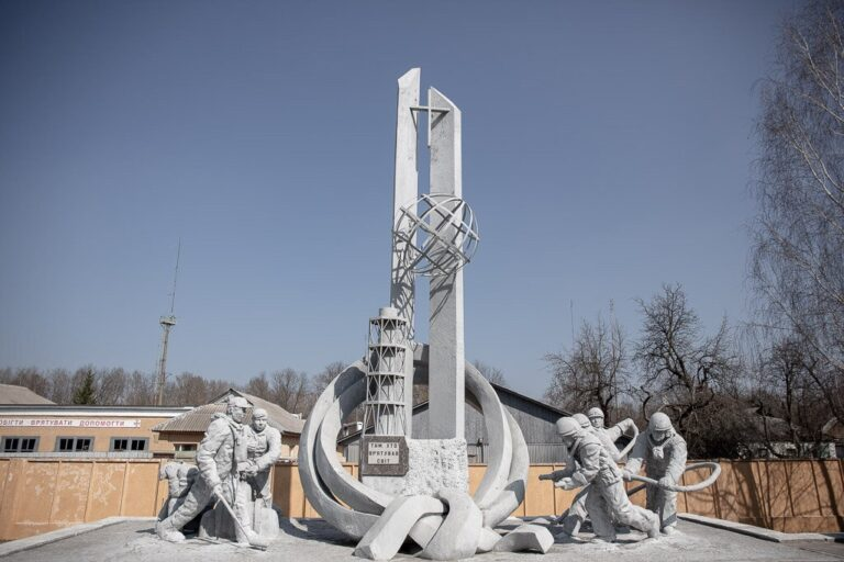 Monument to those who saved the world in Chernobyl
