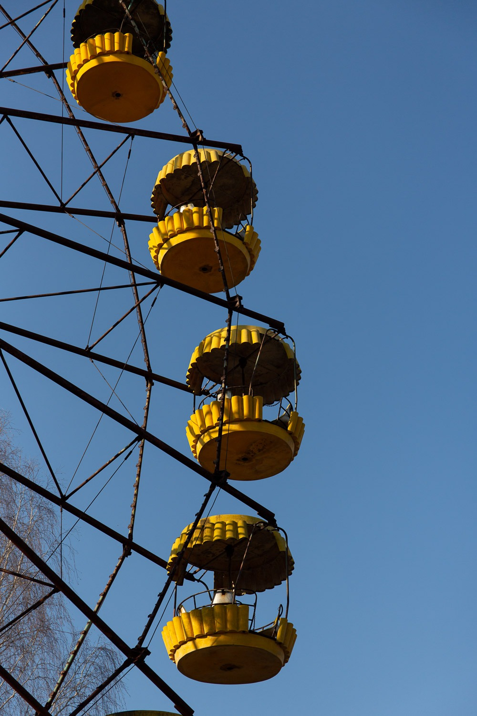 ferris wheel at Pripyat amusement park with blue sky