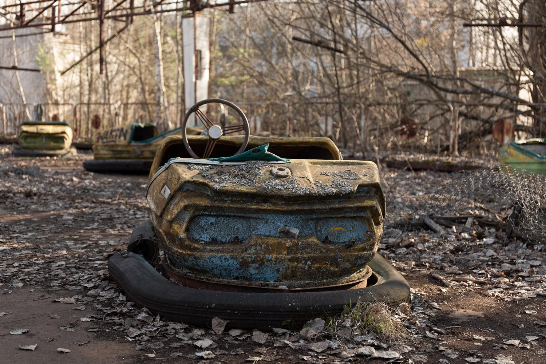 bumper car at abandoned park