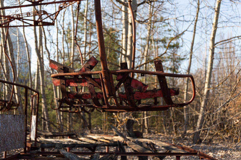 seats on amusement park ride at Pripyat