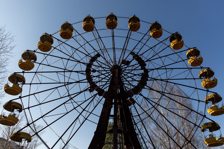 looking up at Pripyat ferris wheel
