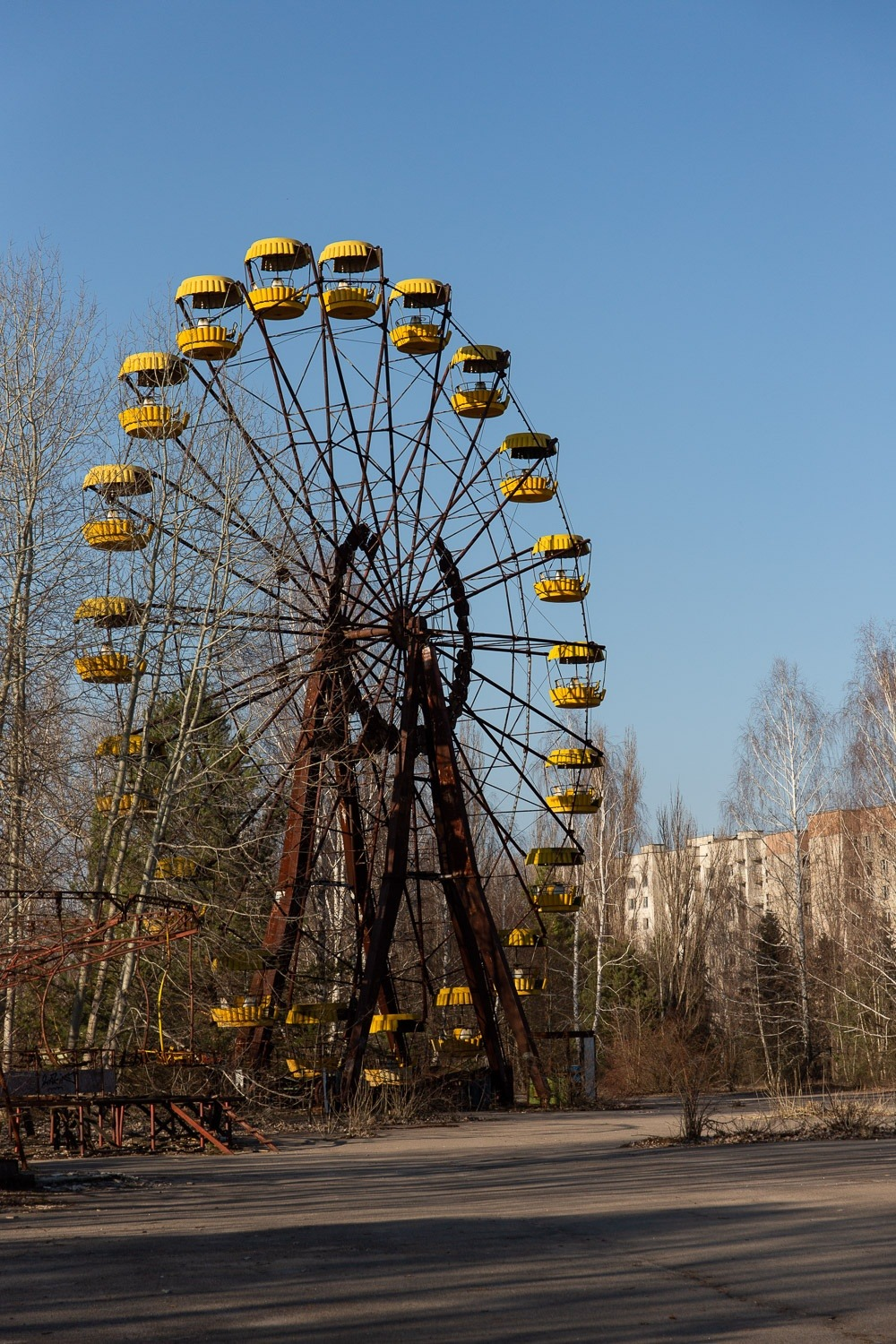 rusting ferris wheel with winter trees and blue sky