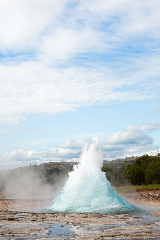 geyser water breaking through