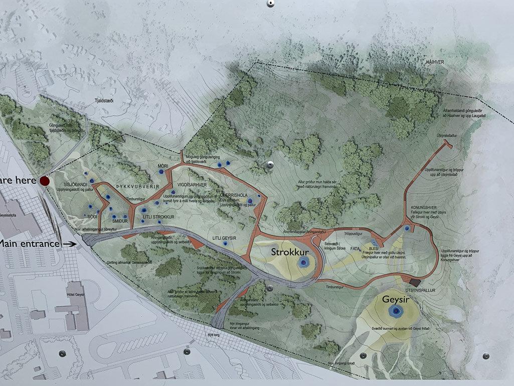 Haukadalur geothermal area map