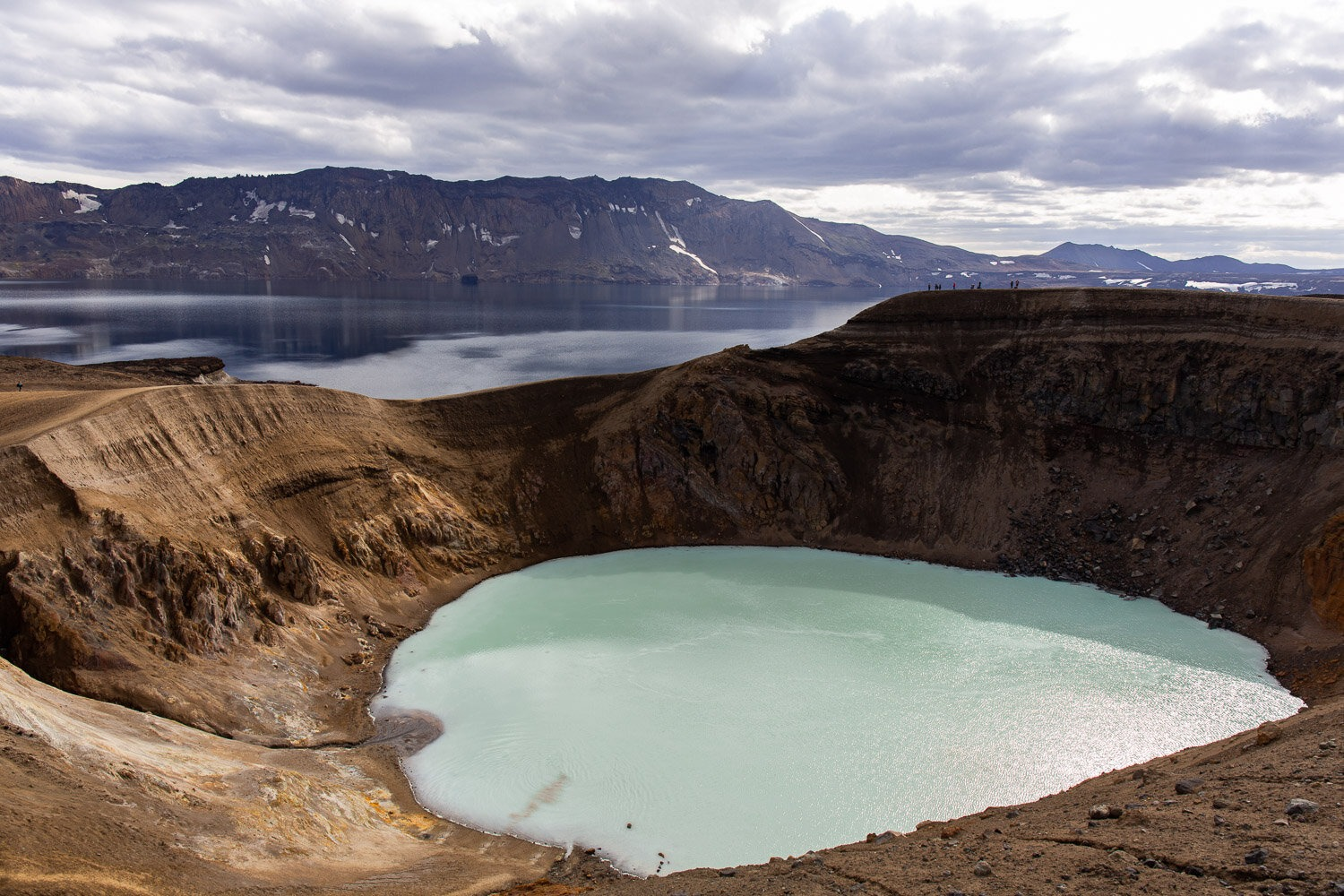 blue caldera with water