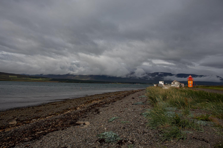 Beach and lighthouse at Svalbardseyri