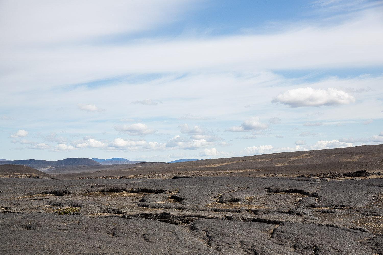 a flat lava field in Iceland