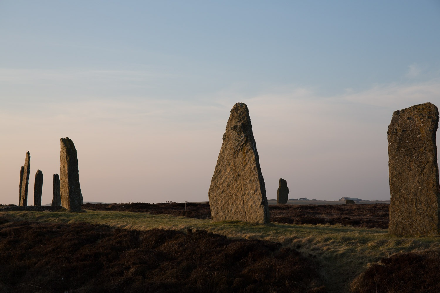 standing stone at sunset
