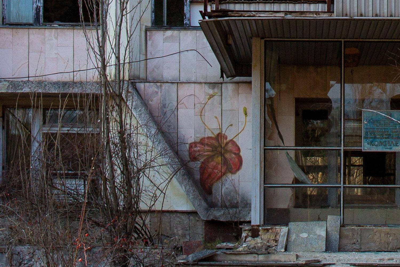 large flower street art in Pripyat