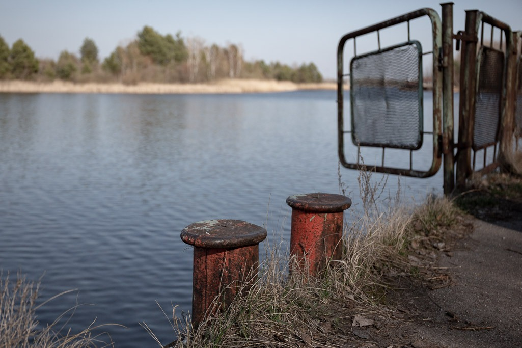 Bollards on the edge of a river