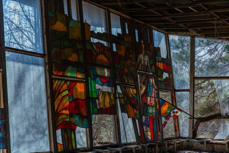 Large picture window with stained glass design