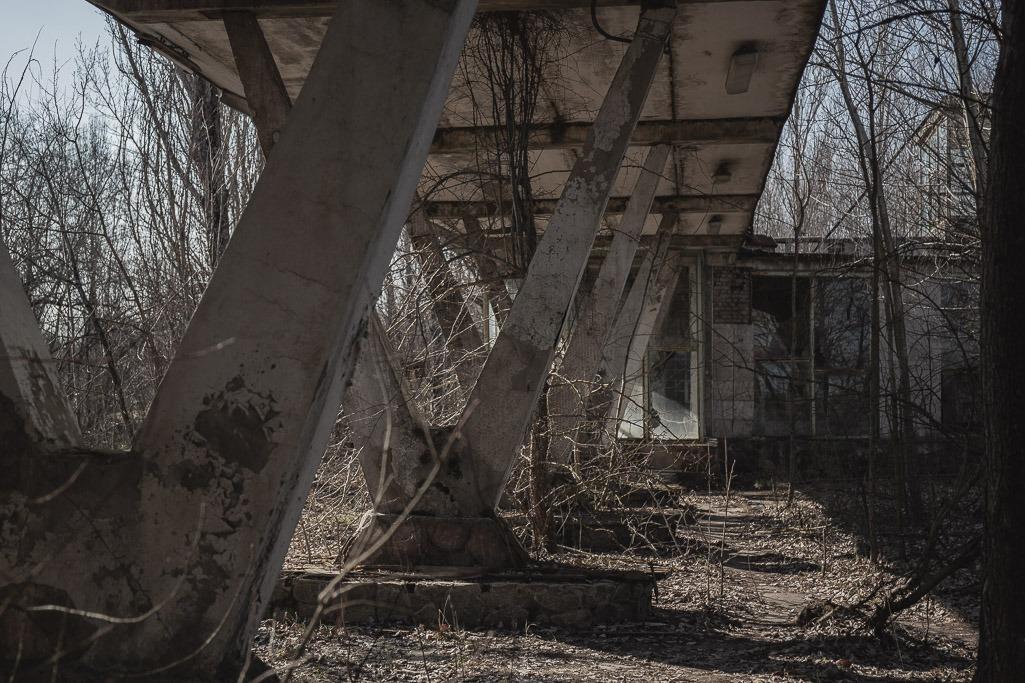 Covered concrete walkway at pripyat port