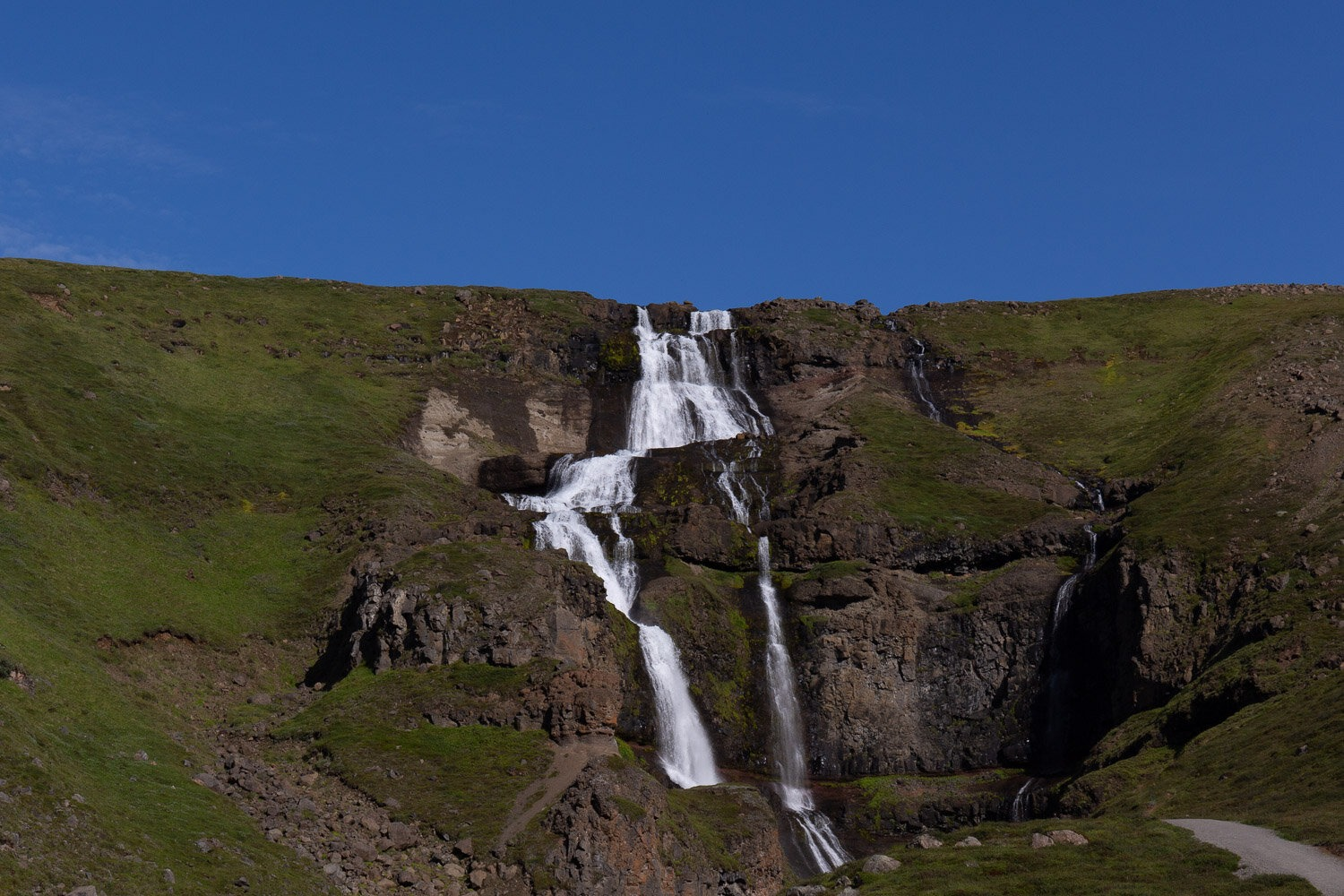 large waterfall with blue sky