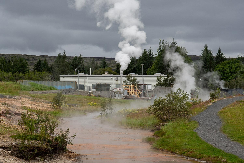 buildings at geothermal park in Iceland