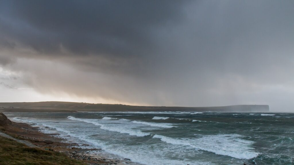 rough seas with storm clouds