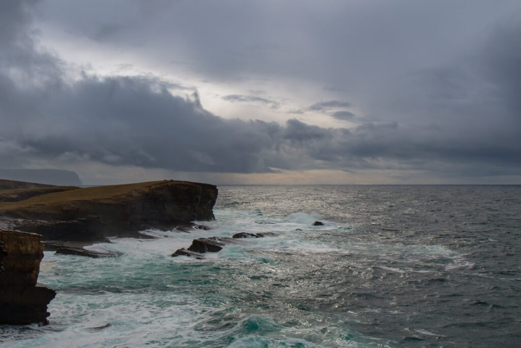 cliffs and angry seas