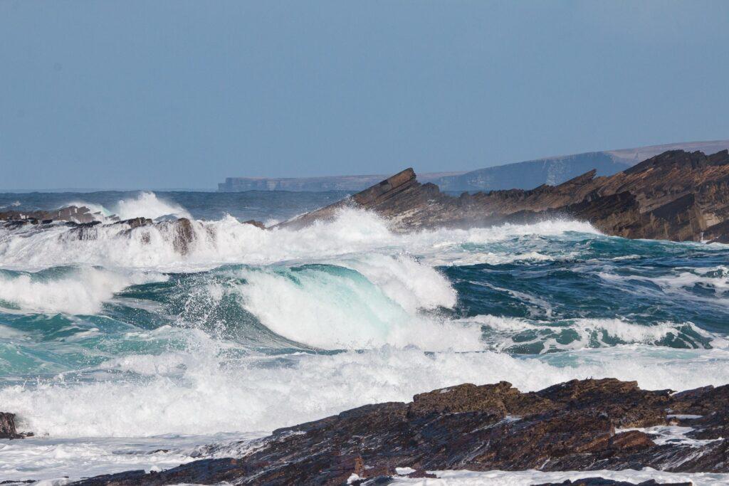 storm waves breaking on beach
