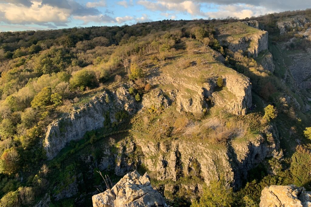 Cheddar cliffs in Somerset at sunset