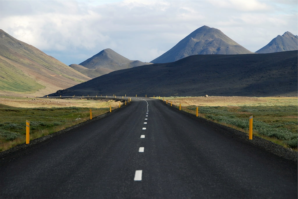 road in Iceland with mountains