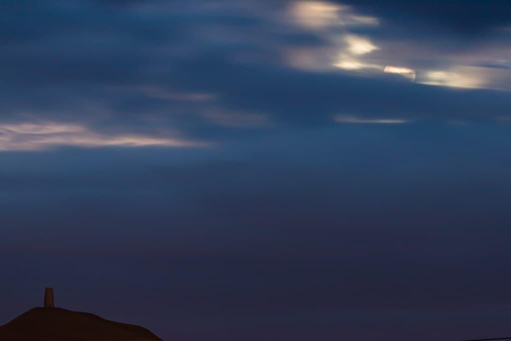 glastonbury tor after moonrise