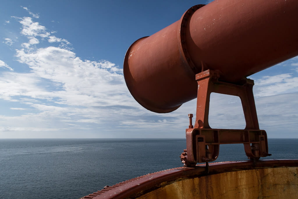 Mull of Galloway foghorn with sea and blue sky