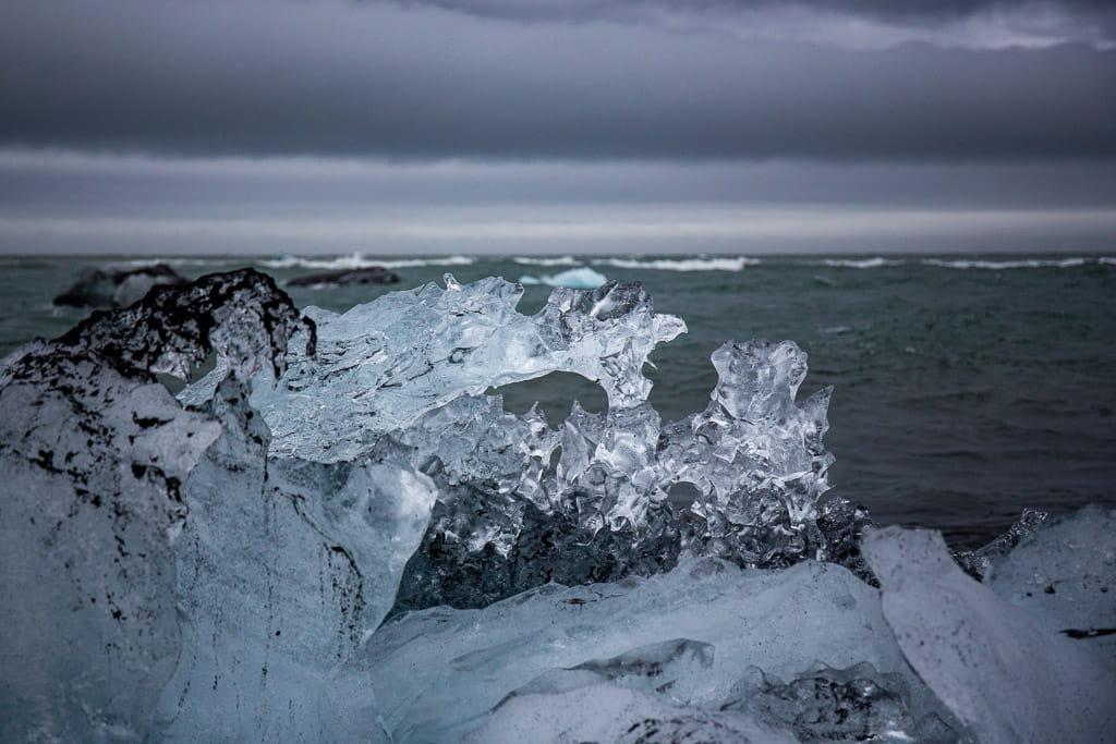 jagged ice on a beach