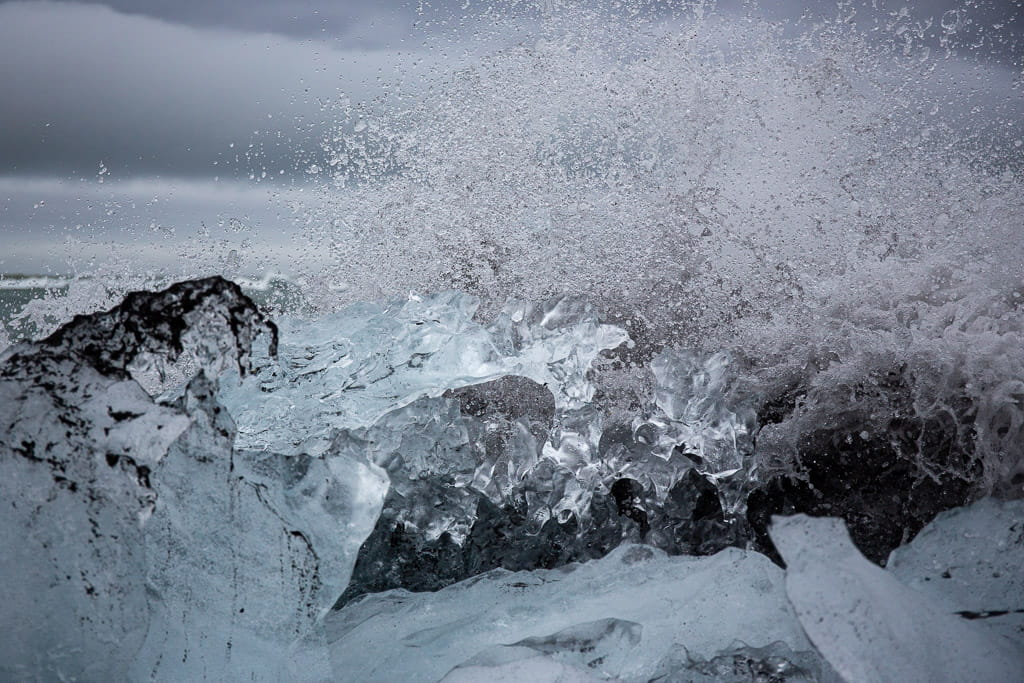 ice with waves breaking