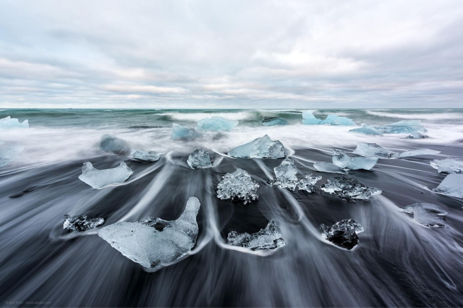 ice with long exposure at Diamond Beach in Iceland