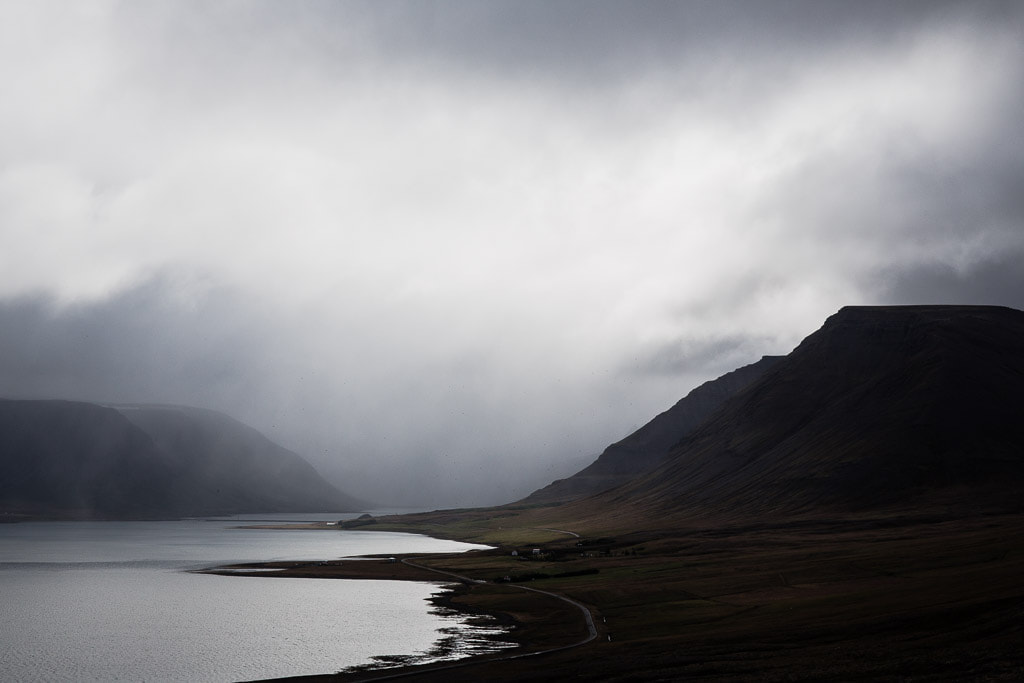 Grey sky and fjord in Iceland