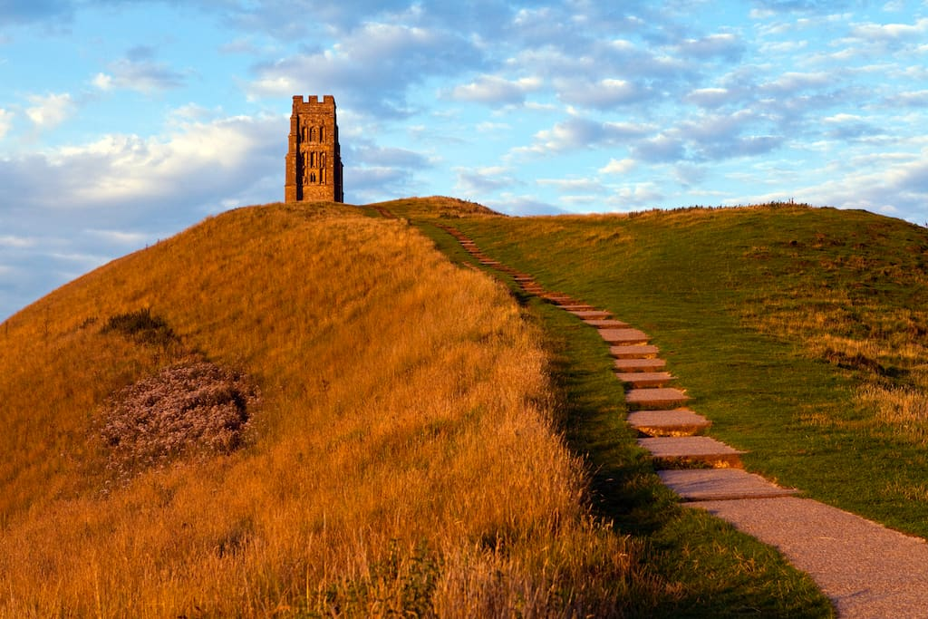 sunset on the steps to Glastonbury Tor tower