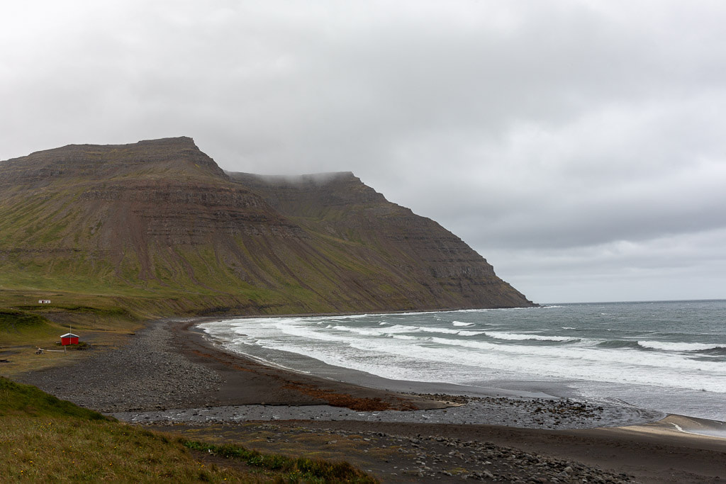 Beach in Iceland with waves
