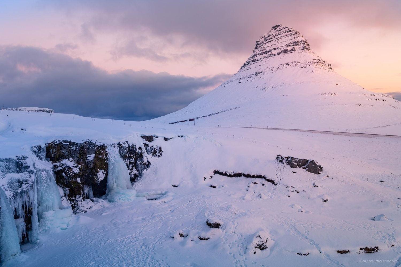 Kirkjufell mountain in Iceland in winter