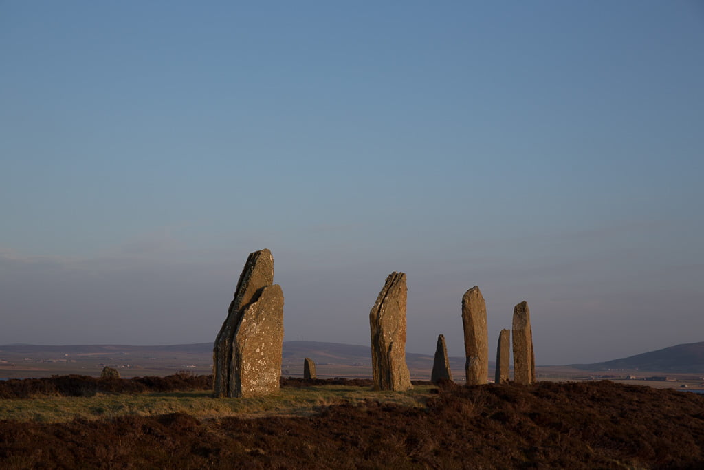 standing stones at sunset in Orkney