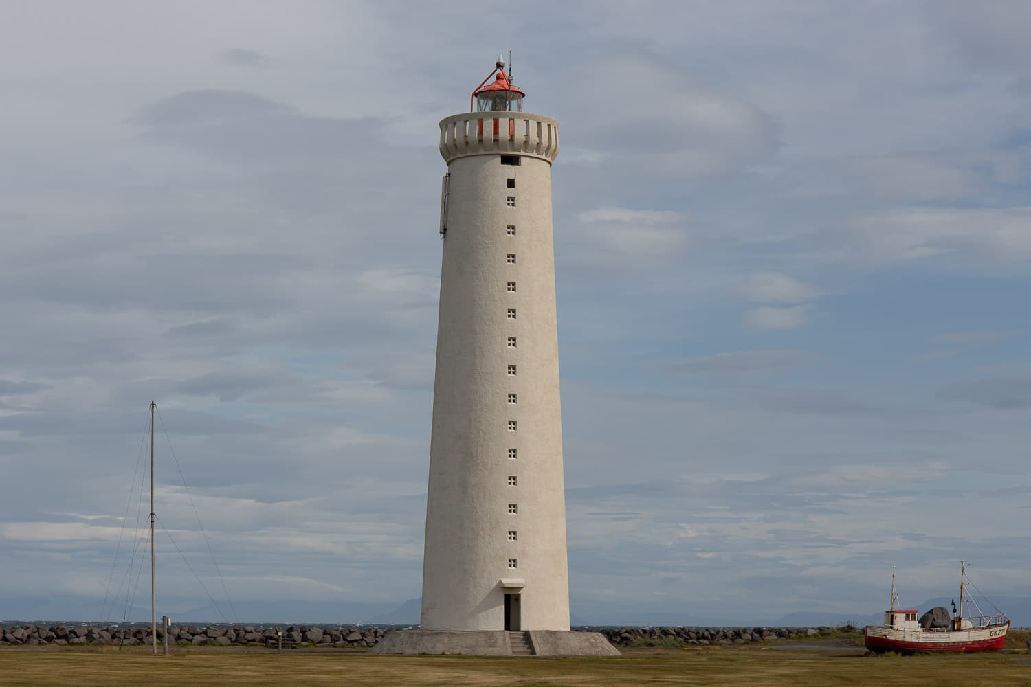 old white Gardur lighthouse in Iceland