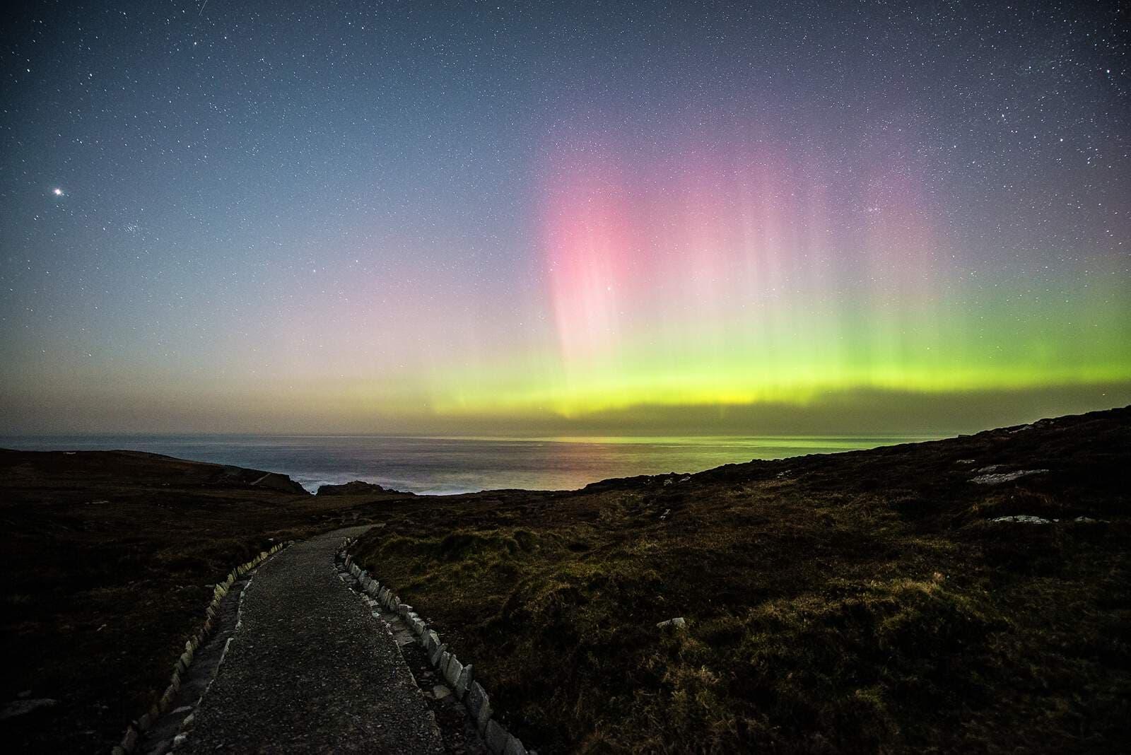 northern lights over Malin Head