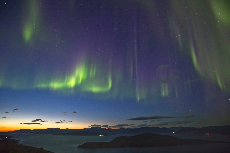 Aurora borealis over Senja Island in Norway