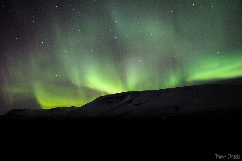 Northern lights over Thingvellir national park in Iceland